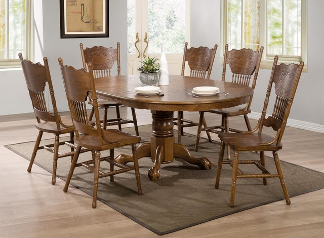 7 pc country oak wood dining room set 24 leaf pedestal for Country style dining room sets