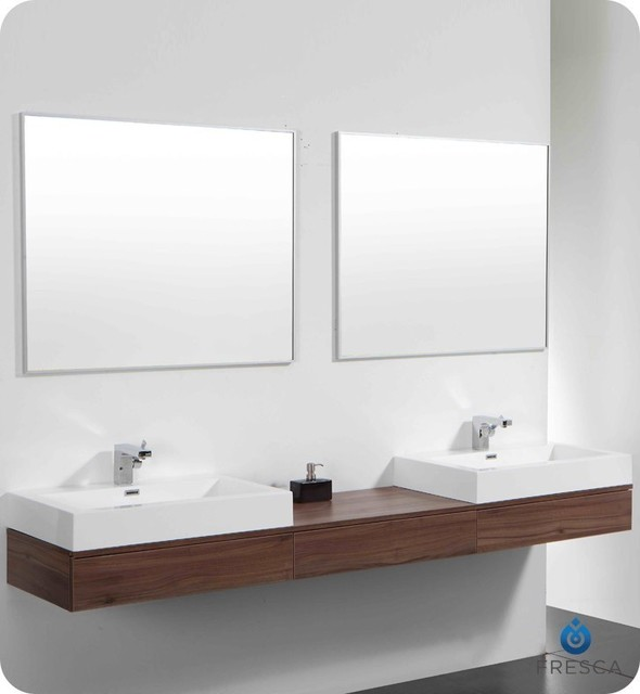 Fantastic Design Element Perfecta Modern 72inch Doublesink Bathroom Vanity Set
