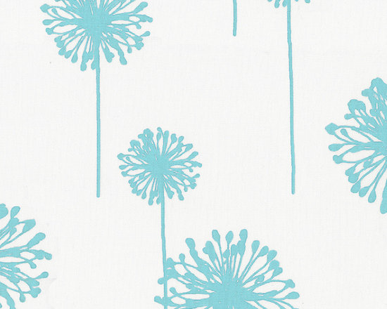 Aqua Dandelion Fabric - Tantalizing Aqua dandelions float gracefully across this design. Featured on a soft 100% Cotton Twill with an Antique White background. This modern design is perfect for a little girl's nursery.