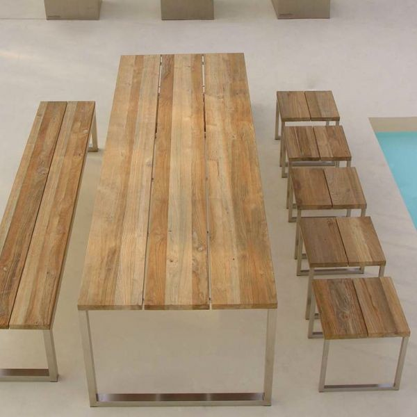 Recycled Teak Outdoor Dining Table  outdoor tables