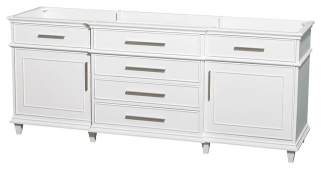 Wyndham Collection 80 Berkeley White Double Vanity No Countertop No Sink Contemporary