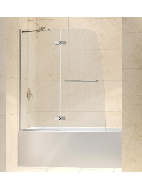 """DreamLine Aqua Ultra Tub Door Clear Glass 48"""" SHDR-3448580 - The AQUA ULTRA tub or shower door offers a modern frameless design for the look of custom glass at an amazing value. The unique and sophisticated curved silhouette gives this door an attractive European flair. An innovative U-shaped wall profile provides an easy installation. The curved lines of the AQUA ULTRA deliver a unique touch to any bathroom design."""