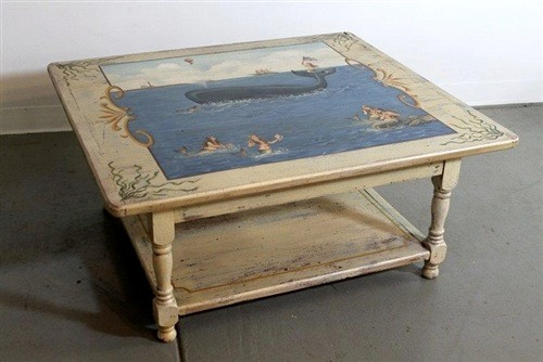 Custom Painted Coffee Table For Coastal Home Traditional Coffee Tables