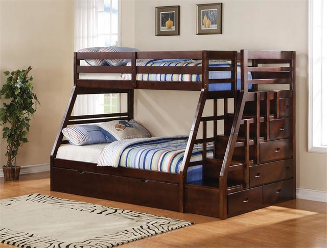 Twin Over Full Bunk Bed with Stairs 640 x 486