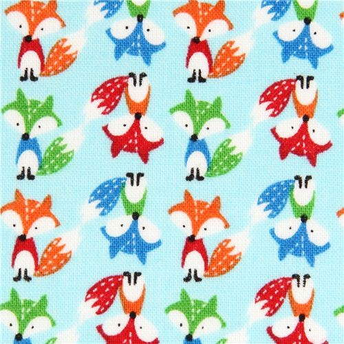 Light blue mini fox fabric by timeless treasures fabric for Fox print fabric