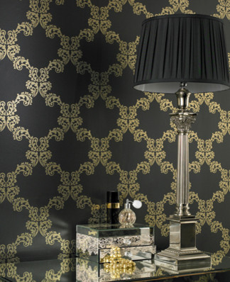 Graham and Brown Mode Wallpaper - Palace Pattern - in Charcoal modern-wallpaper