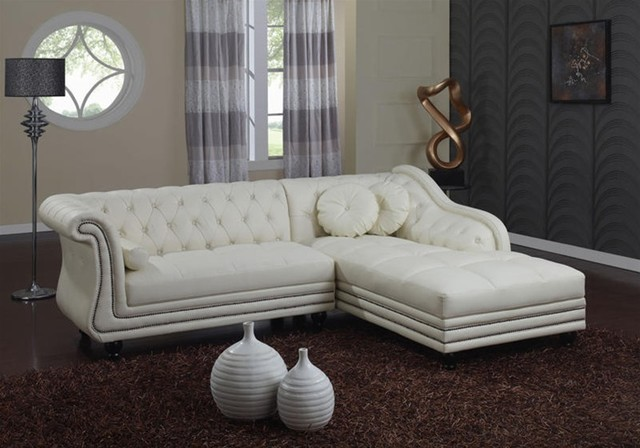 White Leather Tufted Sofa images
