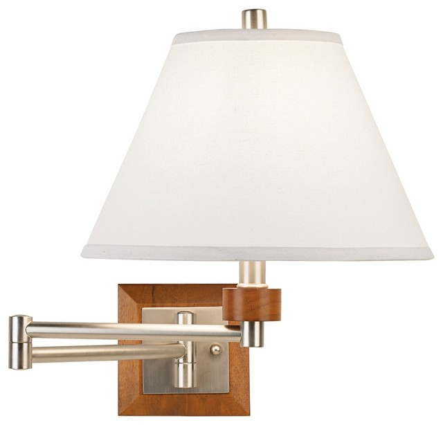 Contemporary Plug In Wall Sconces : Brushed Steel and Wood Plug-In Swing Arm Wall Lamp - Contemporary - Swing Arm Wall Lamps - by ...