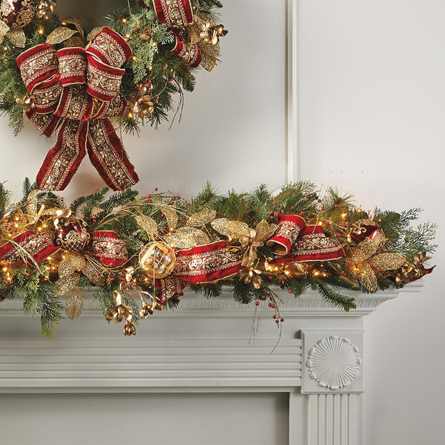 Decorating Ideas > Plaza Decorated PreLit Christmas Garland  Frontgate  ~ 213040_Houzz Christmas Decorating Ideas