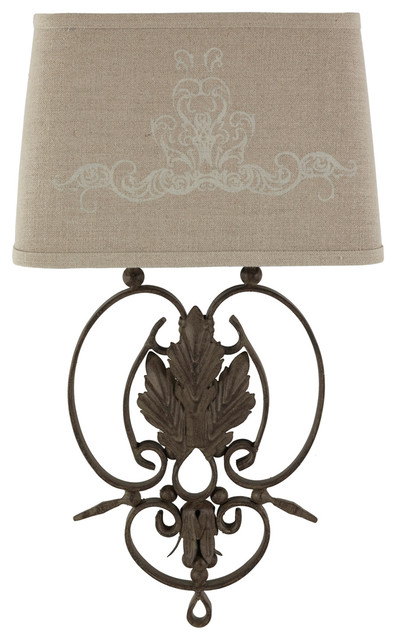 Pair Wrought Iron French Country Linen Scroll Leaf Wall Sconces transitional-wall-lighting
