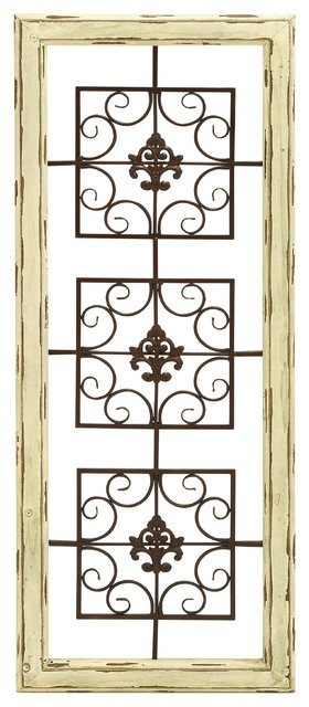 Wood Scroll Wall Decor : Vintage wall plaque white wood frame brown metal scroll