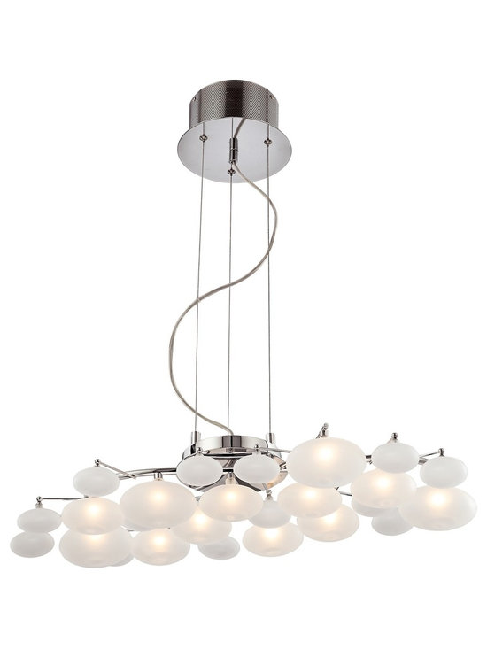 "Possini Euro Design - Possini Euro Design Lilypad 30"" Wide Pendant Light - Nature inspired forms of etched glass combine with chrome and twelve halogen bulbs for a striking modern ceiling fixture. It provides graceful visual impact without taking up too much space. The opal etched glass forms are illuminated by twelve halogen bulbs. The specially built frame features a gleaming chrome finish to complete this stunning look. Chrome finish. Opal etched glass. Includes twelve 20 watt halogen G4 bulbs. 42"" overall hanging height. 30"" wide. 6 1/4"" high. 16"" deep. 6.25"" round canopy. Comes with electronic transformer. 8.82 pounds hanging weight.  Chrome finish.   Opal etched glass.   Comes with electronic transformer.  Includes twelve 20 watt halogen G4 bulbs.   30"" wide.  6 1/4"" high.   16"" deep.  42"" overall hanging height.  6 1/4"" round canopy.   Hang weight of 8.8 lbs."