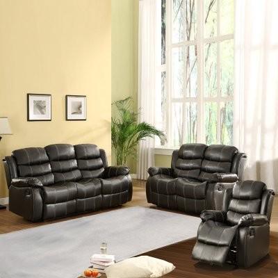 Centerton Leather Reclining Sofa Set - Black modern-sofas