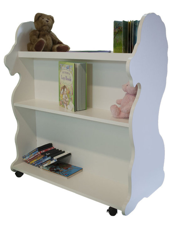 Mobile Baby Bookcase - Mobile Double Sided Bookcase Lion White: This adorable mobile child's bookcase is perfect for to store all your child's favorite books and toys for years to come. The sylish design and wheels on the bottom make the  bookcase chic yet functional enough for any trendy home.