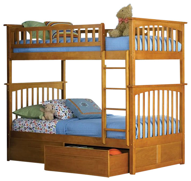 Atlantic Furniture Columbia Twin over Twin Bunk Bed in Caramel Latte transitional-bunk-beds