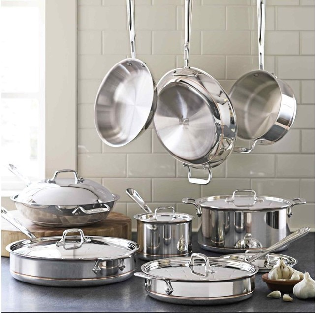 All-Clad Copper-Core 14-Piece Cookware Set contemporary-cookware-sets
