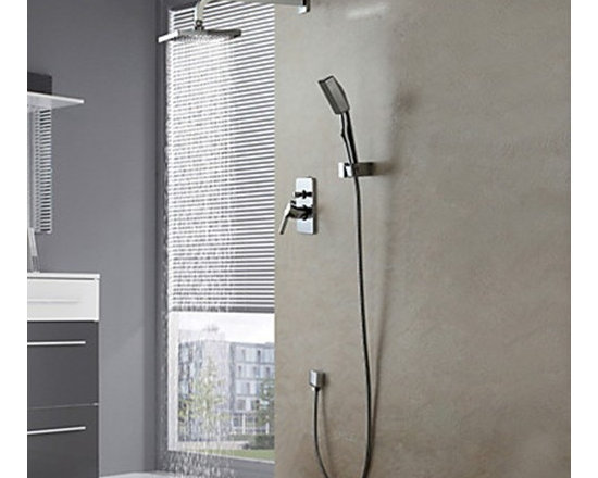 Shower Faucets - Wall Mount Contemporary Chrome Shower Faucet Set---FaucetSuperDeal.com