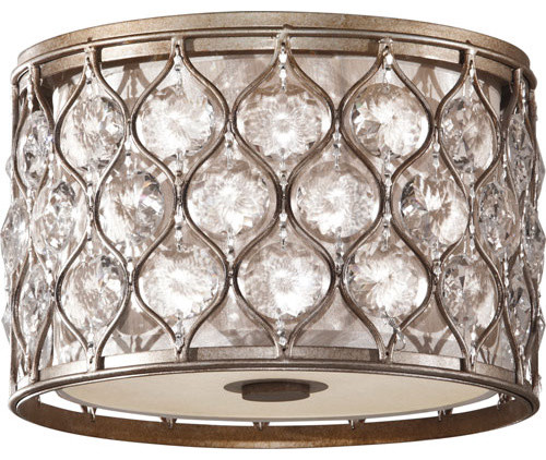 Murray Feiss Lucia Burnished Silver Two-Light Flush Mount contemporary-flush-mount-ceiling-lighting