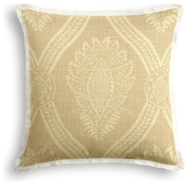 Ivory Medallion Trellis Tailored Throw Pillow - Traditional - Decorative Pillows - by Loom Decor