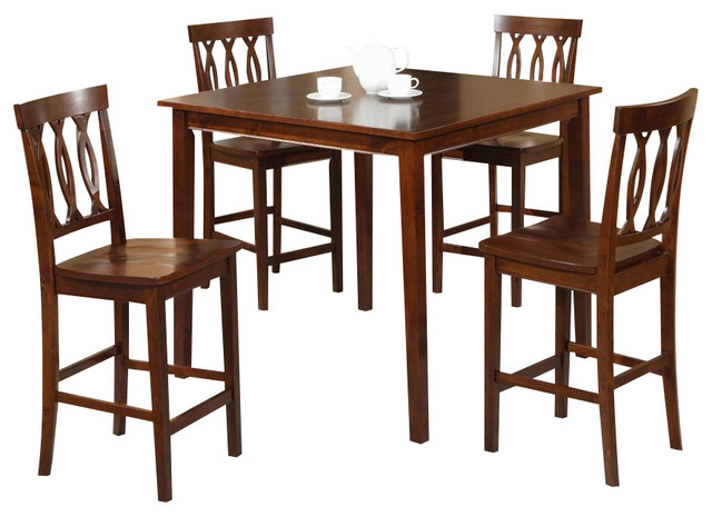 5 pc square counter height table set transitional indoor pub and bistro sets by ivgstores. Black Bedroom Furniture Sets. Home Design Ideas