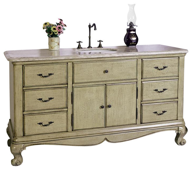 60 Inch Single Sink Bathroom Vanity Traditional Bathroom Vanities And Sink Consoles By