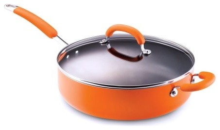 Rachael Ray Porcelain Enamel 6 qt. Deep Saute Pan with Helper Handle contemporary-saute-pans
