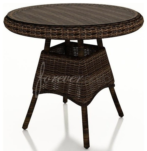 Wicker Forever Patio Leona 30 Round Dining Table With Glass Top Tradi