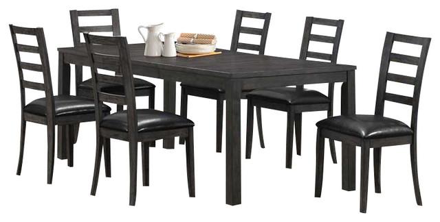 grey 7 piece 78x38 veneer top dining room set contemporary dining sets
