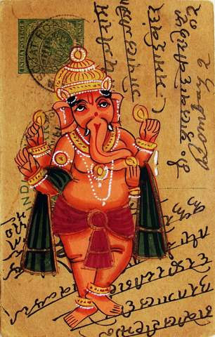 Handmade Ganesha Watercolor Painting On Old Vintage