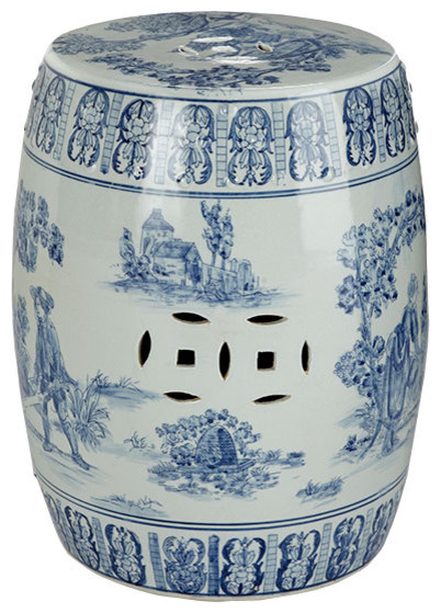 Chinese Toile Ceramic Stool asian-footstools-and-ottomans