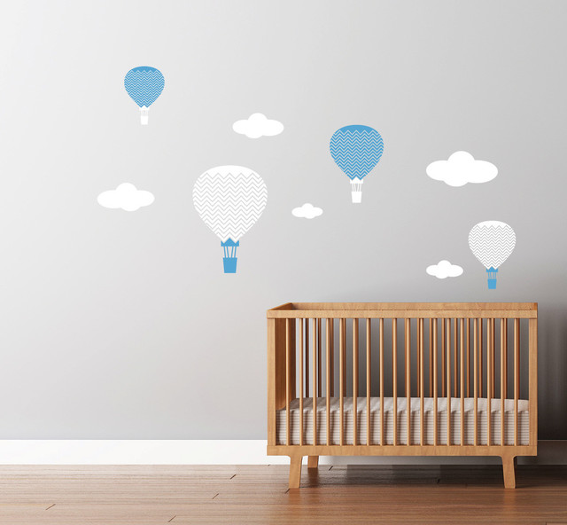 hot air balloons decals large chevron pattern. Black Bedroom Furniture Sets. Home Design Ideas