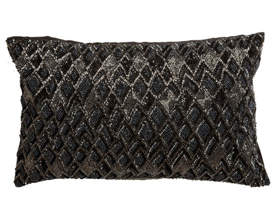 Ethan Allen - Diamond Beaded Rectangular Pillow - This pillow is a real design gem! Featuring a face embellished with a bead and sequin diamond pattern in charcoal, silver, pewter, black and a solid dark brown back, it adds a captivating element of glamour and fashion to the home.