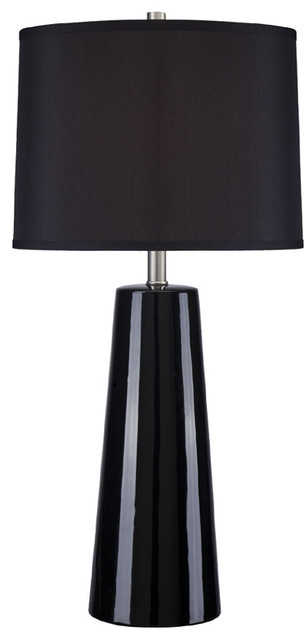 Ceramic Table Lamp - Black/Black Fabric Shade traditional-table-lamps
