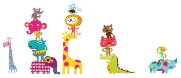 Noah's African Circus Animals Reusable Fabric Wall Decals by Pop & Lolli modern-kids-decor