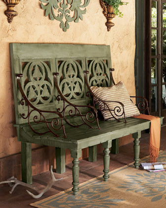 Distressed Three-Seat Bench traditional-outdoor-benches