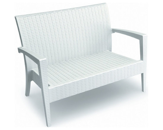 Compamia - Miami Resin Loveseat White - Miami resin patio loveseat with cushion. Wickerlook resin is a natural looking un-woven one piece furniture technology. No metal parts to rust, no moving parts that can break. Made for commercial durability. UV treated. Cushions available in Sunbrella colors.