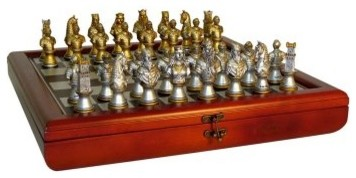 Camelot Busts Painted Resin Chess Set - Gold & Silver Pieces modern-clothes-racks