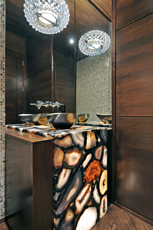 contemporary powder room Natural Works of Art: Agate in the Home
