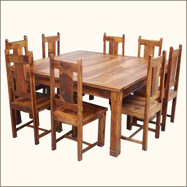 Elegant 9 pc square dining table and chairs set for 8 for Square dinette sets