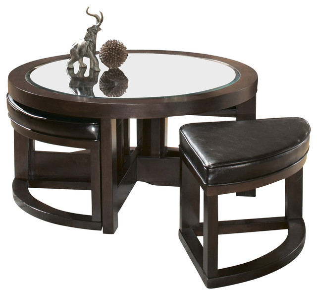 Brussel Round Cocktail Table With 4 Ottomans Traditional Coffee Tables
