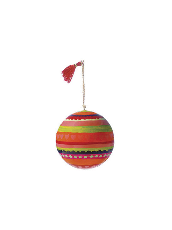 Stripes with Designs Painted Papier-Mâché Ornament -
