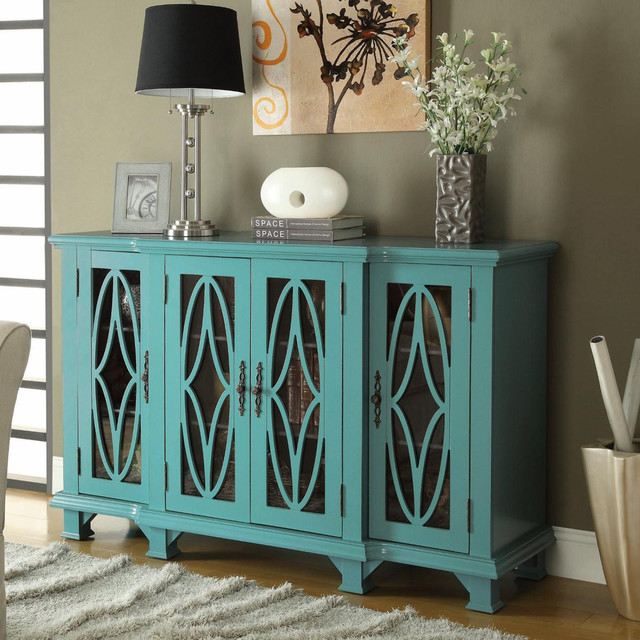 Teal Blue Accent Cabinet Modern Kitchen Cabinetry By