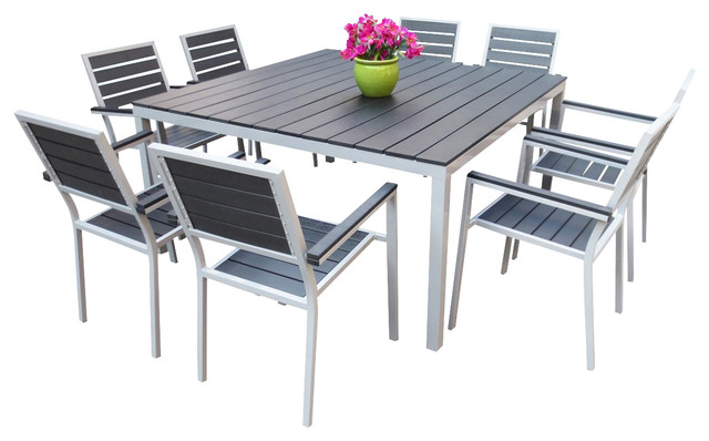 Outdoor aluminum resin 9 piece square dining table and for Outdoor dining sets for 12
