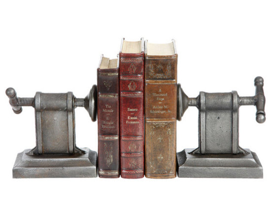 Cast Iron Clamp Book Ends (Set of 2) - An inspired gift idea for the craftsman or craftswoman in your life, this piece is different spin on traditional bookends. With the clamps creating an intriguing overall appearance, this would be a fun way to bookend home improvement or DIY books.