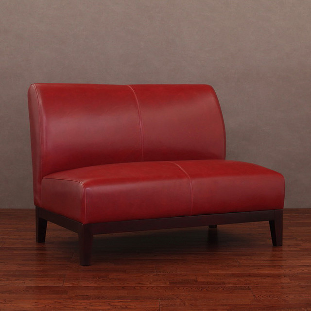 Cole Burnt Red Leather Loveseat - Contemporary - Love Seats - by ...
