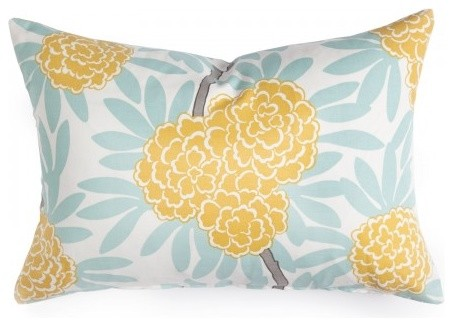 Mustard Fleur Chinoise Pillow modern-pillows