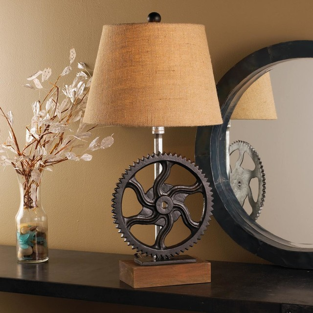 cast iron gear table lamp lamp shades by shades of light. Black Bedroom Furniture Sets. Home Design Ideas