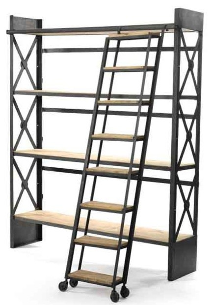 Loft Bookcase with Ladder - Industrial - Bookcases - by Custom ...