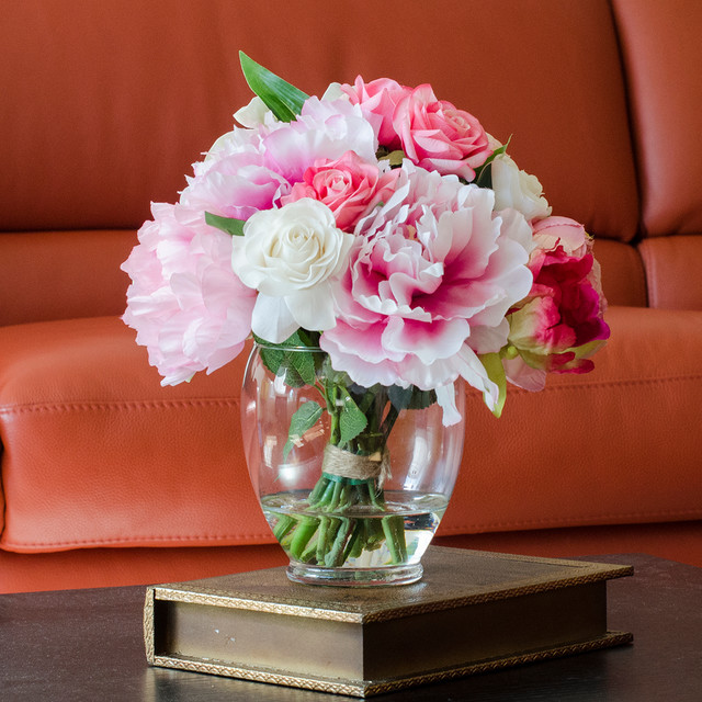 Black Leather Living Room Garden Rose And Peony: Pink Peony Rose Cabbage Oriental Faux Arrangement