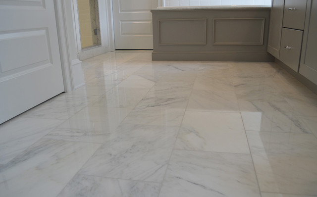 White Carrara Marble Floor Transitional Wall And